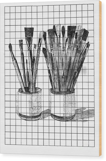 Burshes In Cup Wood Print by Dave Atkins