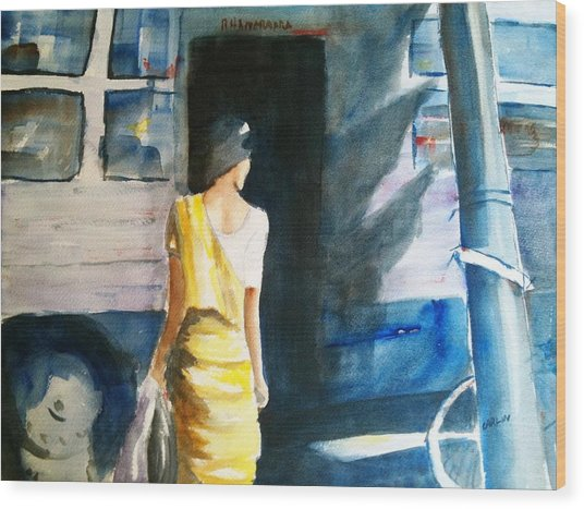 Bus Stop - Woman Boarding The Bus Wood Print