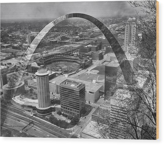 Busch Stadium Bw A View From The Arch Merged Image Wood Print
