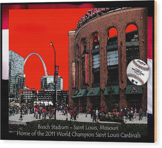 Busch Stadium Wood Print