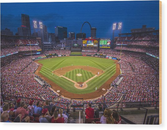 Busch Stadium St. Louis Cardinals Night Game Wood Print