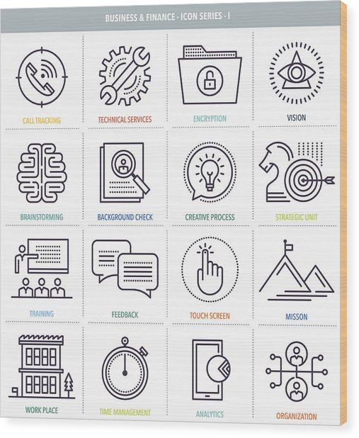 Business And Finance Icon Set Wood Print by Ilyast