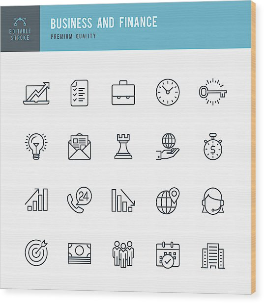Business And Finance  - Thin Line Icon Set Wood Print by Fonikum