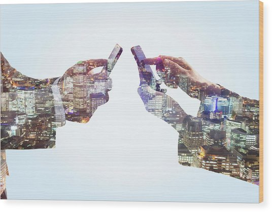 Business Man And Woman Using Smart Wood Print by Tim Robberts