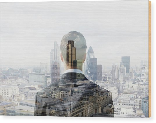 Business Man Looking Towards The City Wood Print by Tim Robberts
