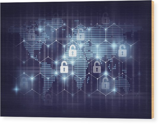 business technology securities concept,Security key lock icon digital display over the world map and Hexagon shape on matrix digital number technology and dark blue background Wood Print by Photographer is my life.