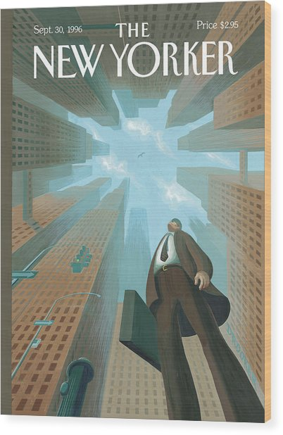 Businessman Looks Up At Tall Skyscrapers Wood Print by Eric Drooker