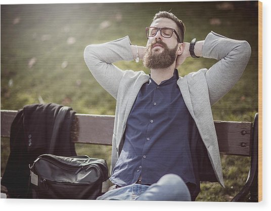 Businessman Relaxing On The Bench After Work Wood Print by DaniloAndjus