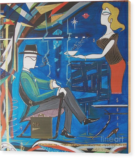 Businessman Sitting In Chair Wood Print