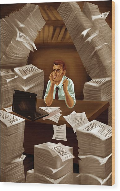 Businessman With Heap Of Papers Wood Print