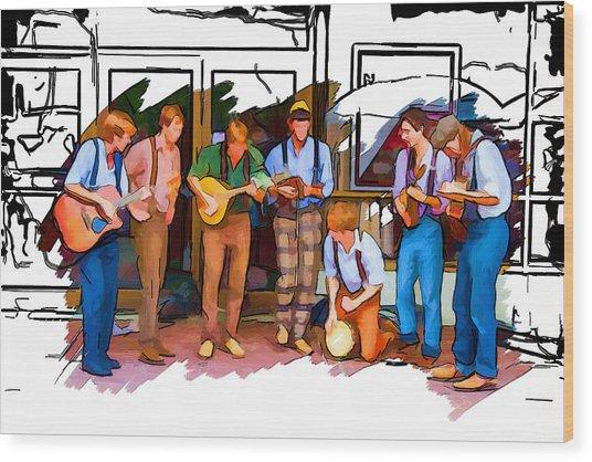 Busker Band Wood Print