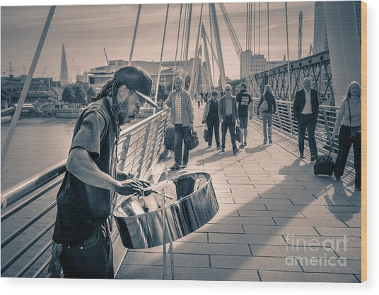Busker Playing Steel Band Drum Steelpan In London Wood Print