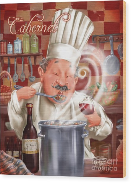 Busy Chef With Cabernet Wood Print