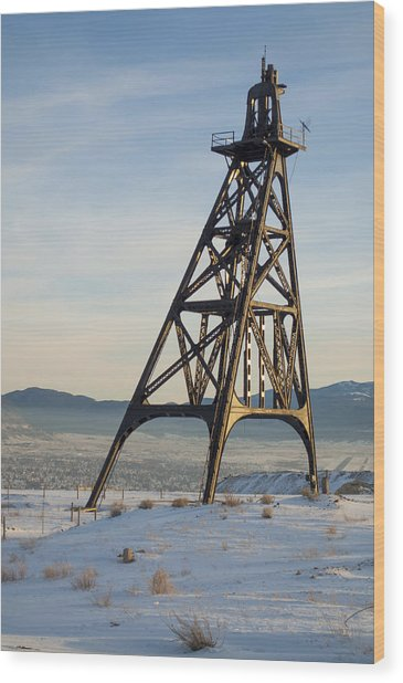 Butte Headframe Wood Print