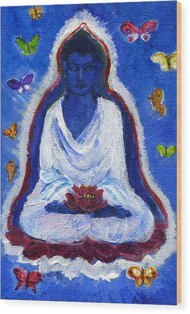 Butterflies Dream Of Buddha Wood Print