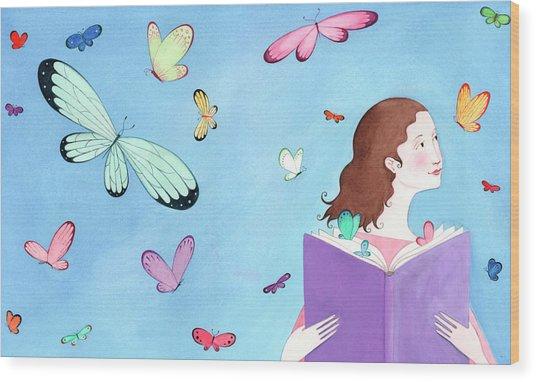 Butterflies Flying Around Girl Reading Wood Print