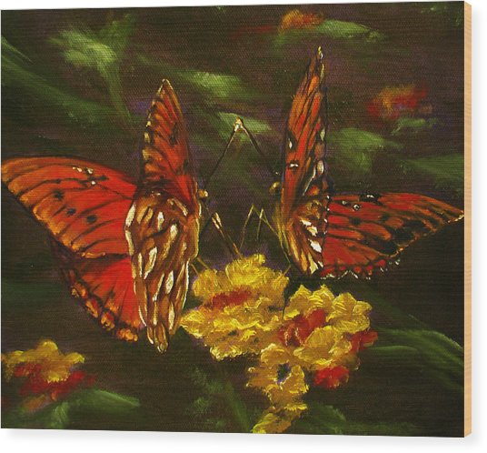 Butterfly Amore Wood Print by Sherry Robinson