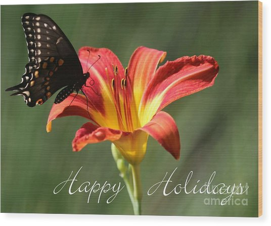 Butterfly And Lily Holiday Card Wood Print