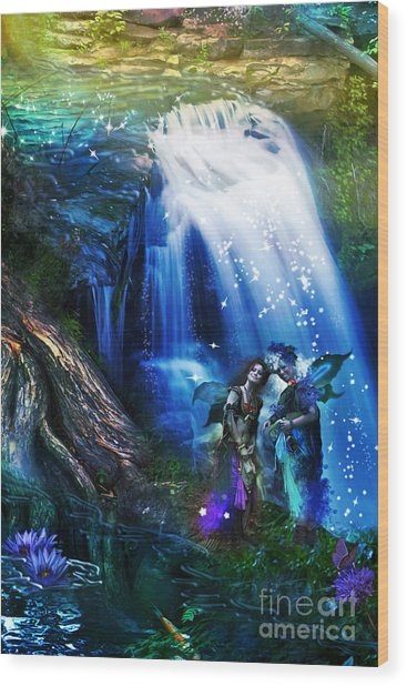 Butterfly Ball Waterfall Wood Print