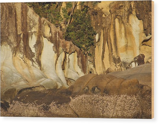 Butterfly Bay Rock Formations Wood Print