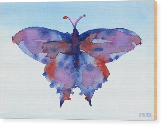 Butterfly Blue And Red Watercolor Painting Wood Print