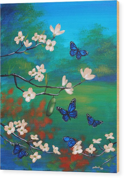 Butterfly Blue Wood Print