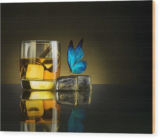 Butterfly Drink Wood Print