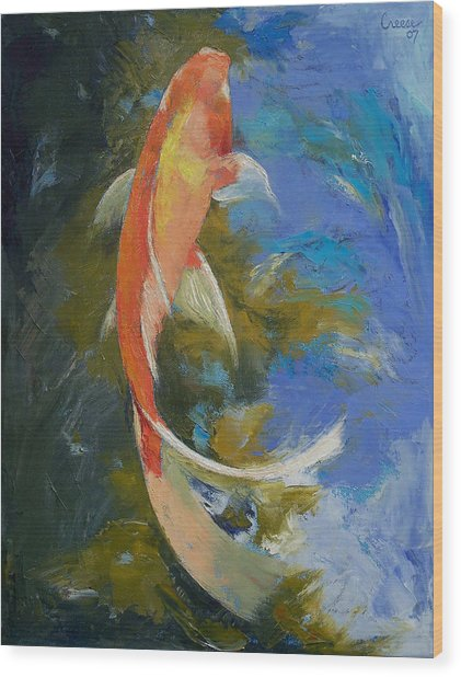Butterfly Koi Painting Wood Print