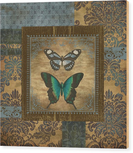 Butterfly Patchwork Wood Print