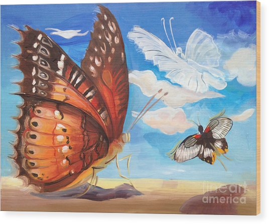 Butterfly Paysage 2 Wood Print