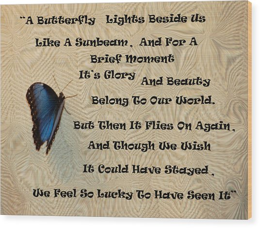 Butterfly Poem Wood Print