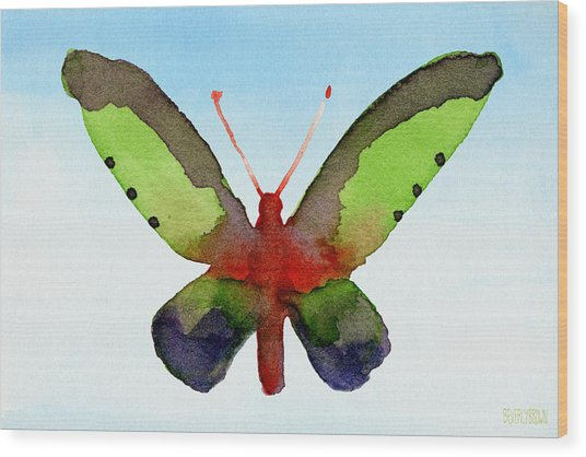 Butterfly Purple And Green Watercolor Art Print Wood Print