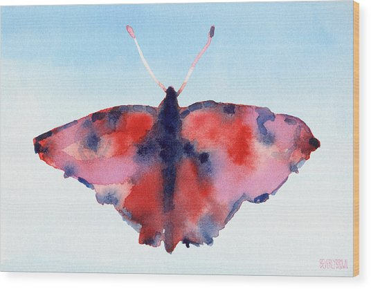 Butterfly Red And Blue Watercolor Painting Wood Print