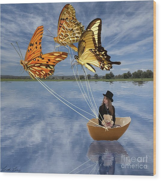 Butterfly Sailing Wood Print