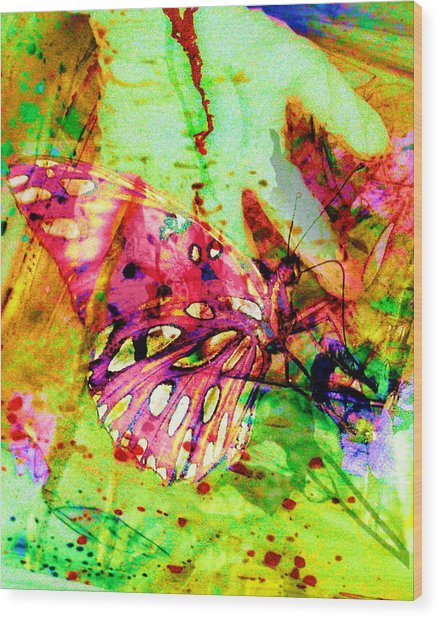 Butterfly That Was A Muscian Wood Print