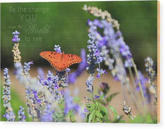 Butterfly With Message Wood Print