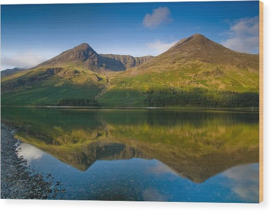 Buttermere Reflection Lake District Wood Print by David Ross