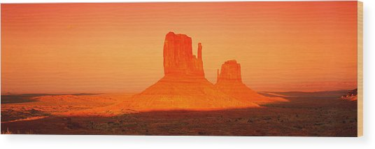 Buttes At Sunrise, The Mittens Wood Print