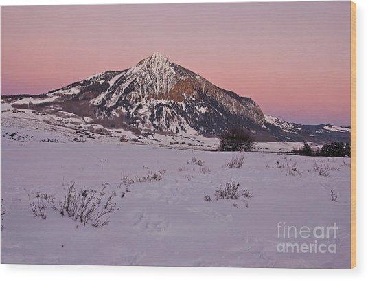 Butte's Winter Glow Wood Print
