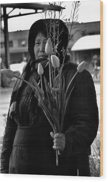 Buy My Tulips Wood Print