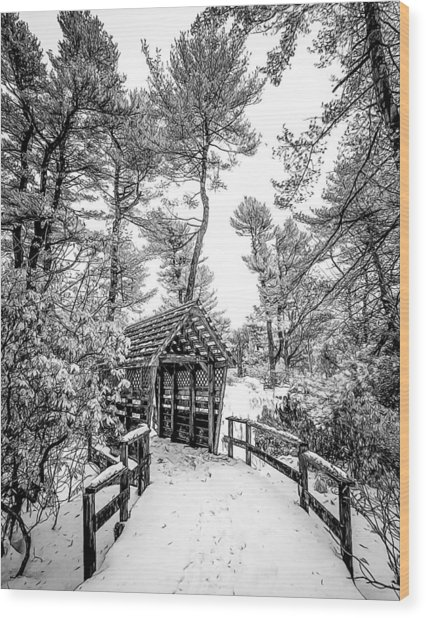 Bw Covered Bridge In The Snow Wood Print