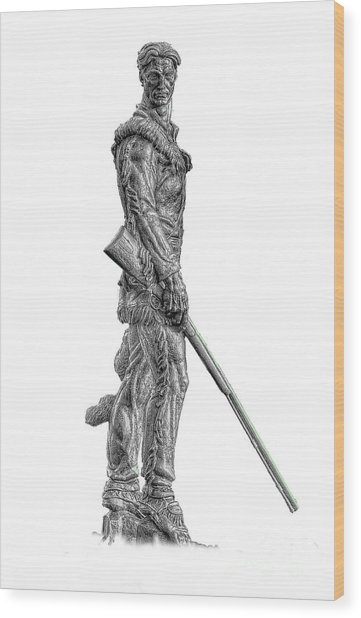 Bw Of Mountaineer Statue Wood Print