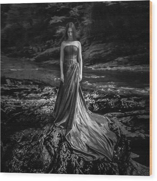 Bw Portrait (black And White ) Wood Print