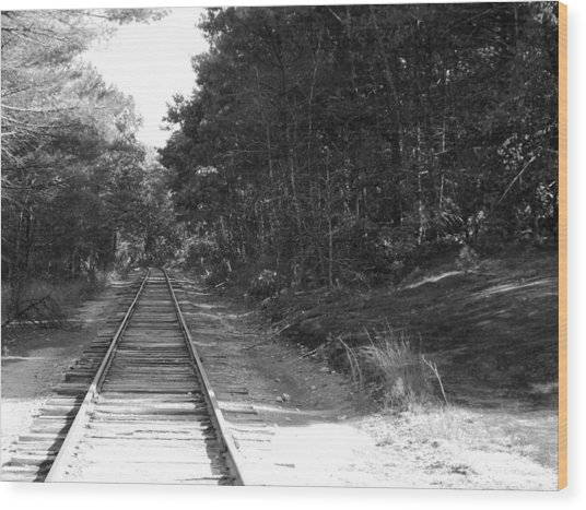 Bw Railroad Track To Somewhere Wood Print
