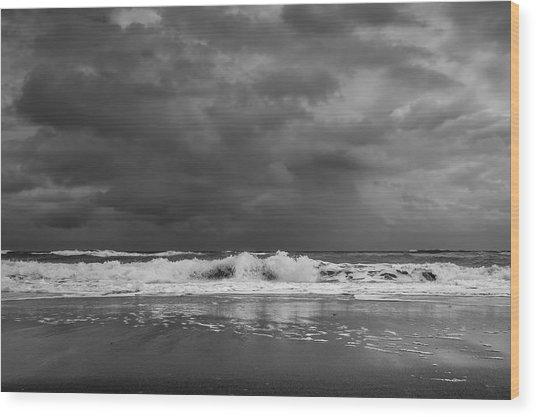 Bw Stormy Seascape Wood Print