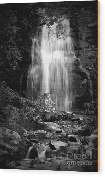Bw Waterfall Wood Print