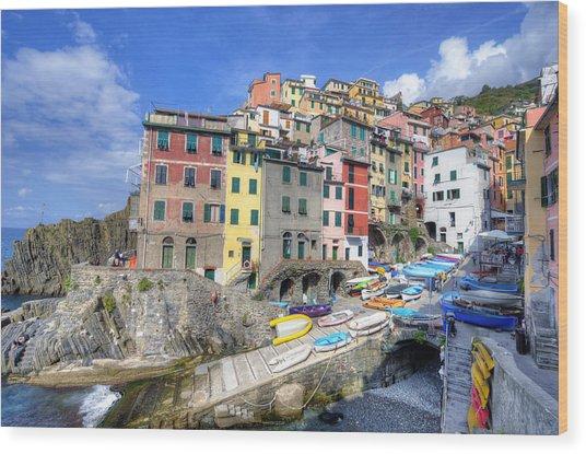 By The Harbor In Riomaggiore Wood Print