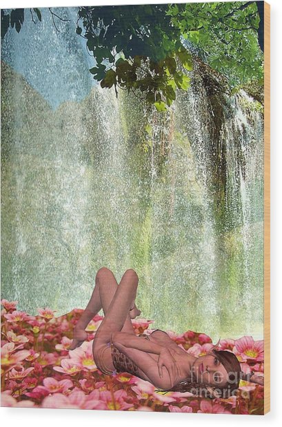 By The Waterfall Wood Print