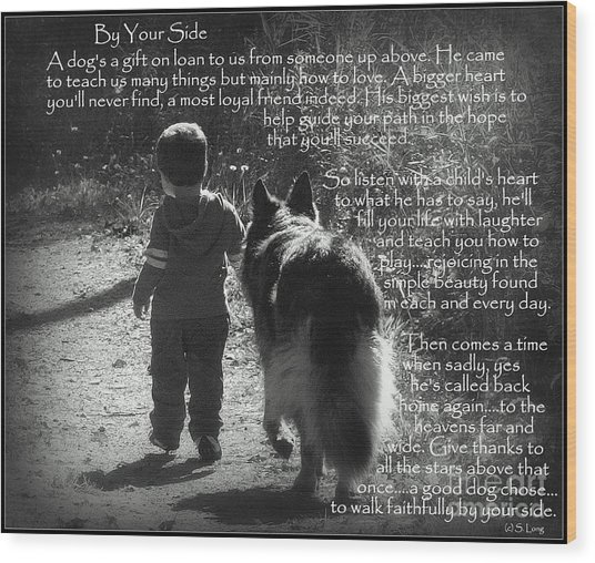 By Your Side Paw Print Wood Print