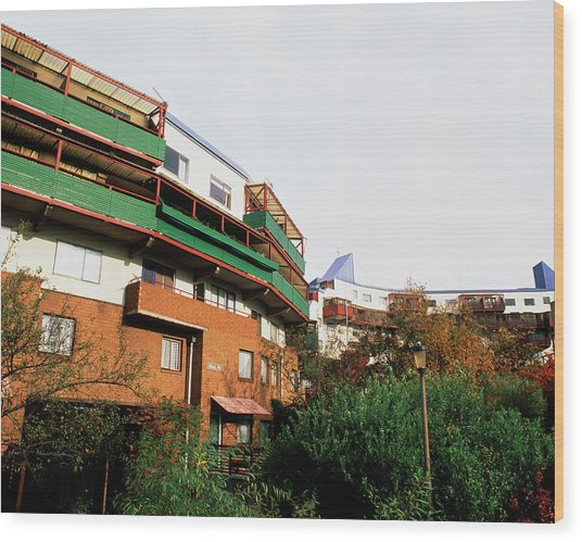 Byker Houses Heated By Refuse Power Station Wood Print